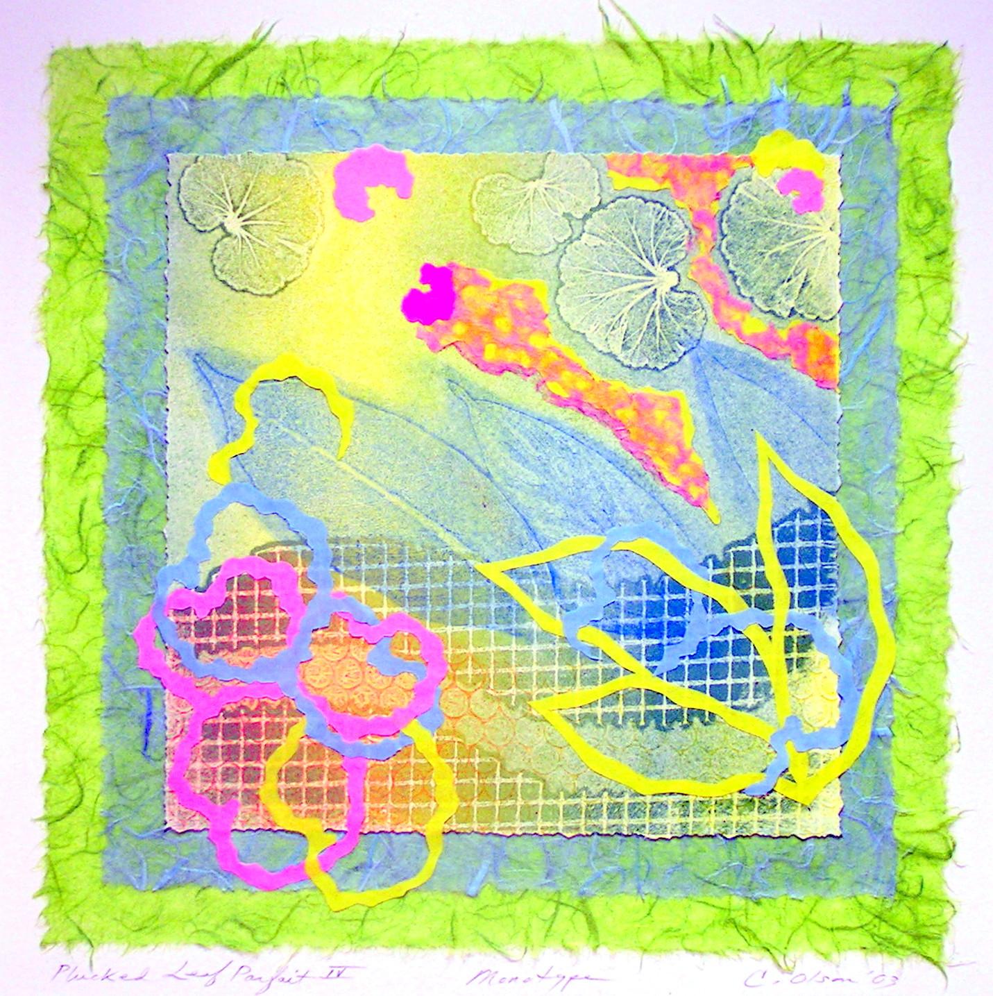 "Plucked Leaf Parfait IV - monotype/collage, 9.5 x 9.5"""