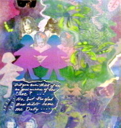 """Dolly, monotype/collage, 24 x 18""""  (twin series)"""