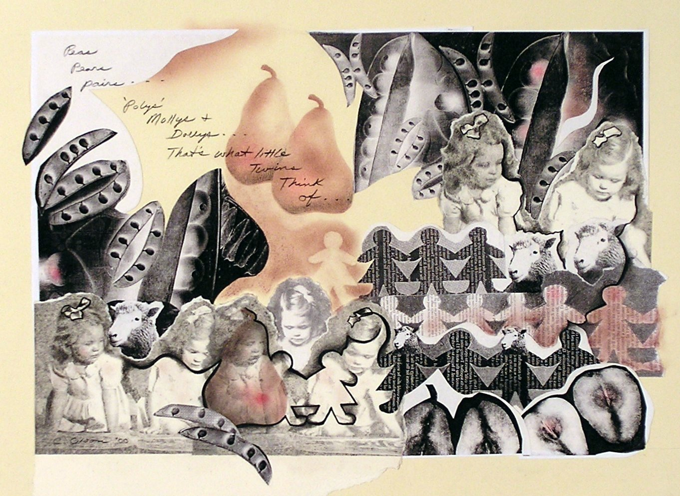 Study for Dolly - Dolly, mixed media collage, (twin series)
