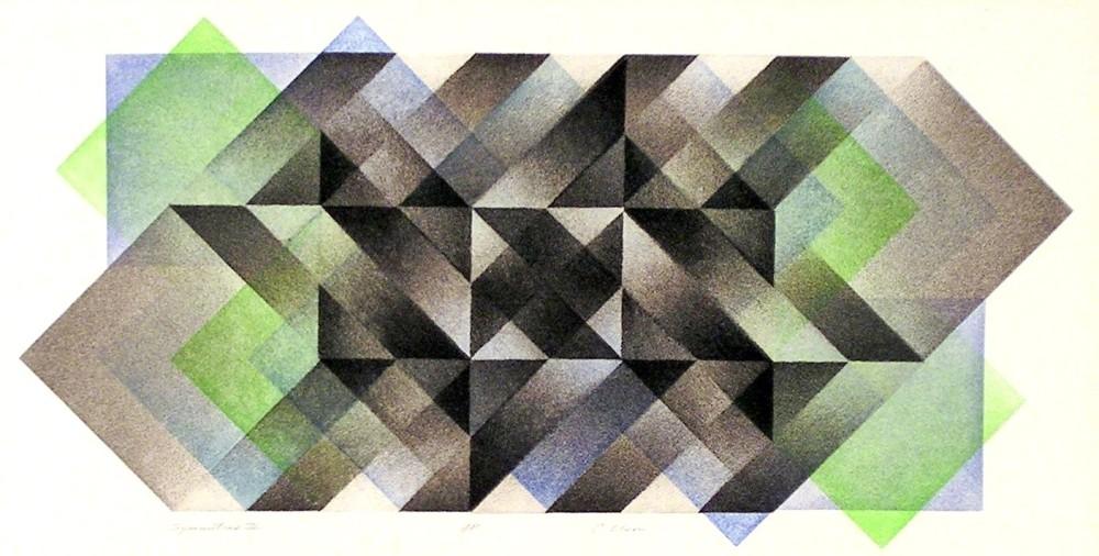"Symmetrix # 2, A/P,  multiple plate aquatint, 10"" x 20.5"""
