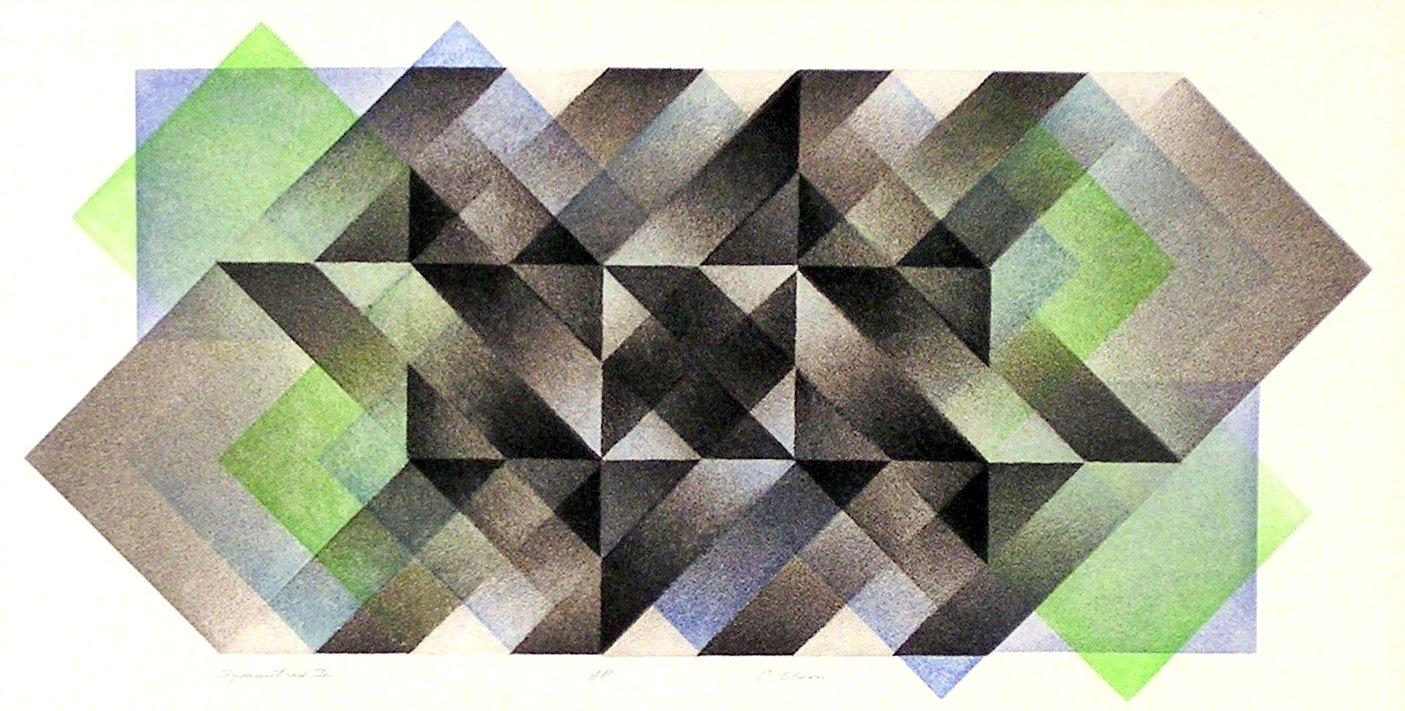 "Symmetrix # 2, A/P,  multiple plate aquatint, 10"" x 20.5"""