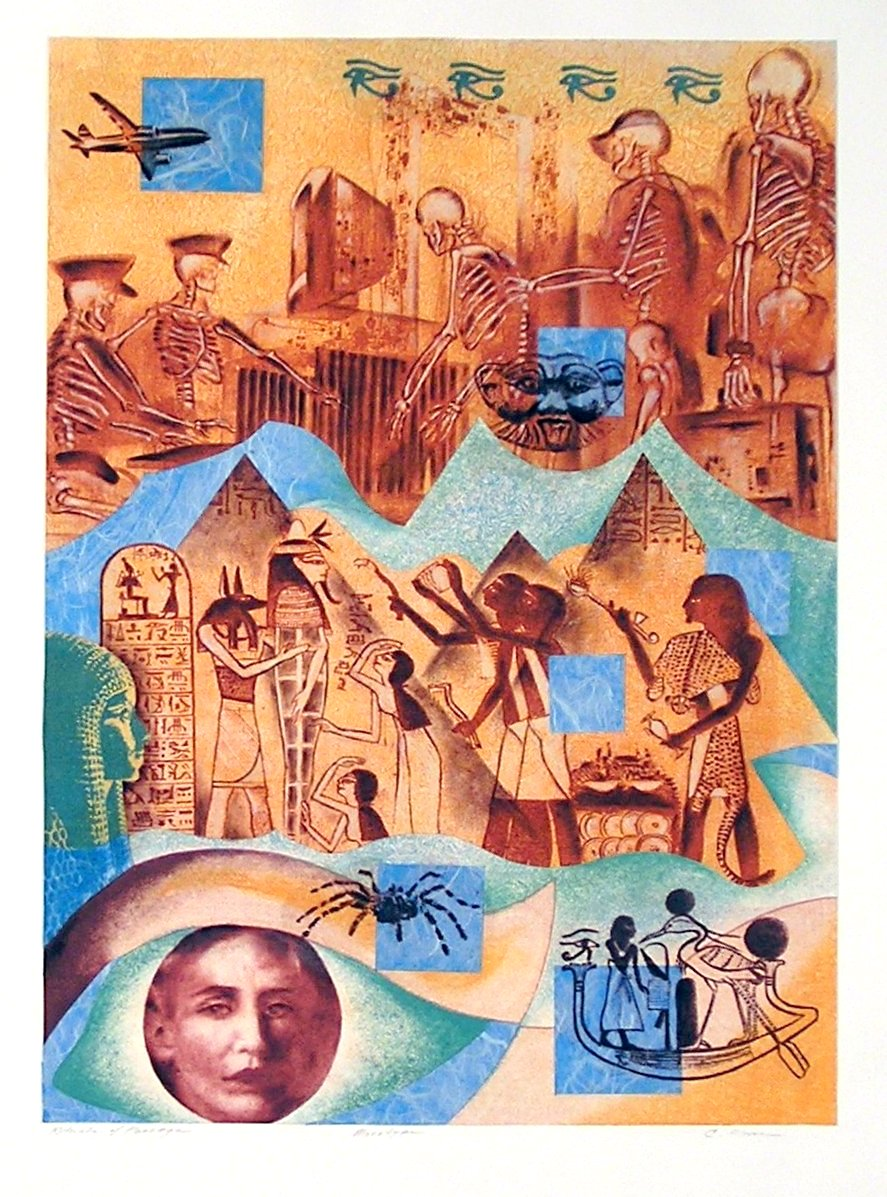 "Rituals of Passage, monotype/collage, 22 x 20"" (travel series, Egypt)"