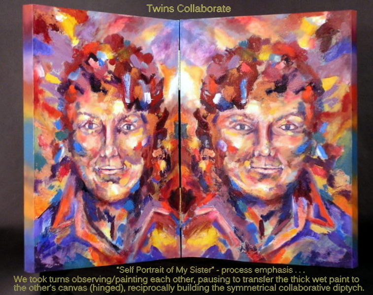 "If I were you would I be you or me;  is a question that inspired this work.  Oil on hinged canvas, 18"" x24"" ; each panel"