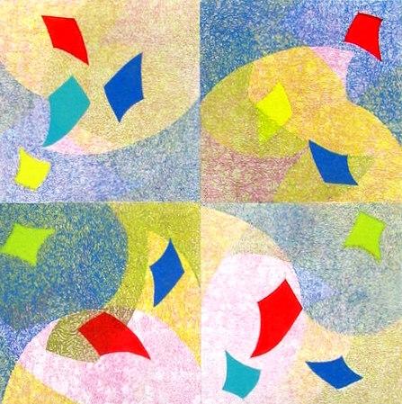 "Pixilated, monotype/collage 10 x10"""
