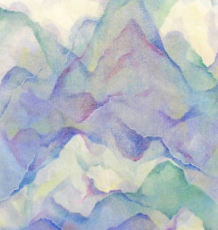 Mountains, mixed media monotype (travel series,  Gukilin, China)