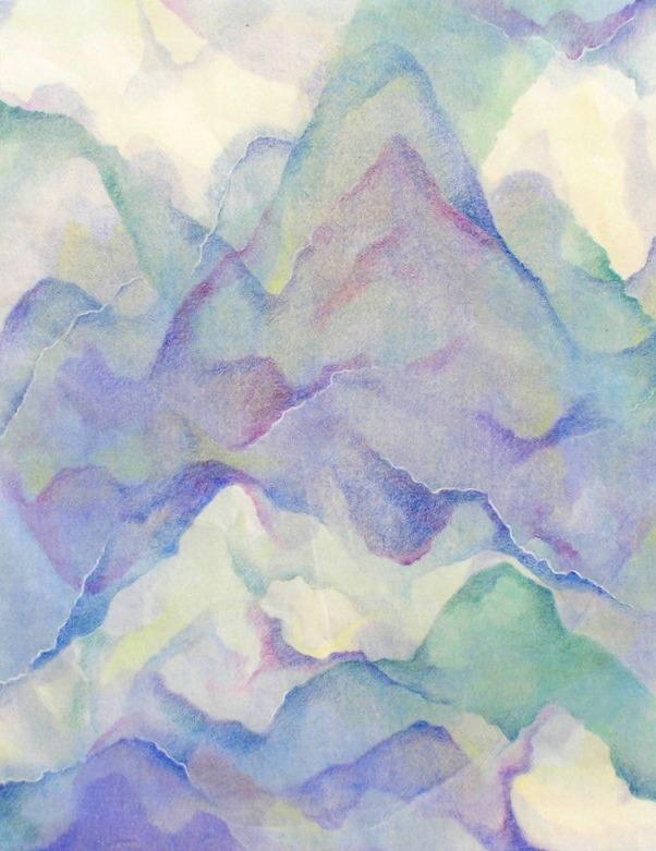 Mountains, mixed media monotype (travel series,  Gukilin, China)