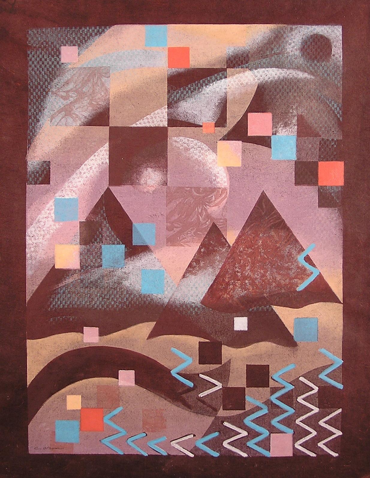 """Journey, monotype, 24 x 18"""" (travel series - Egypt)"""